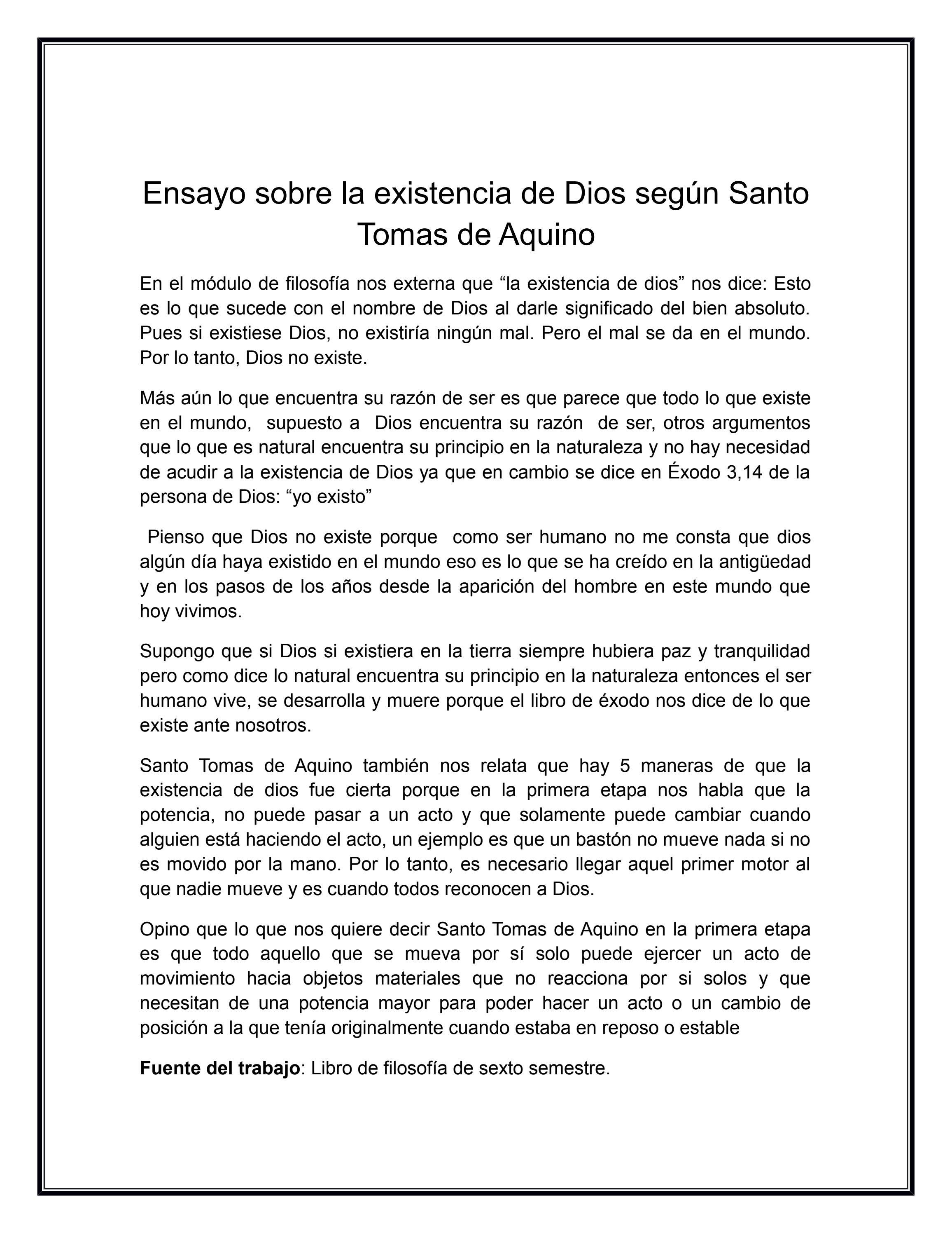 Ensayo Sobre La Existencia De Dios Según Santo Tomas De Aquino By Sandra Issuu