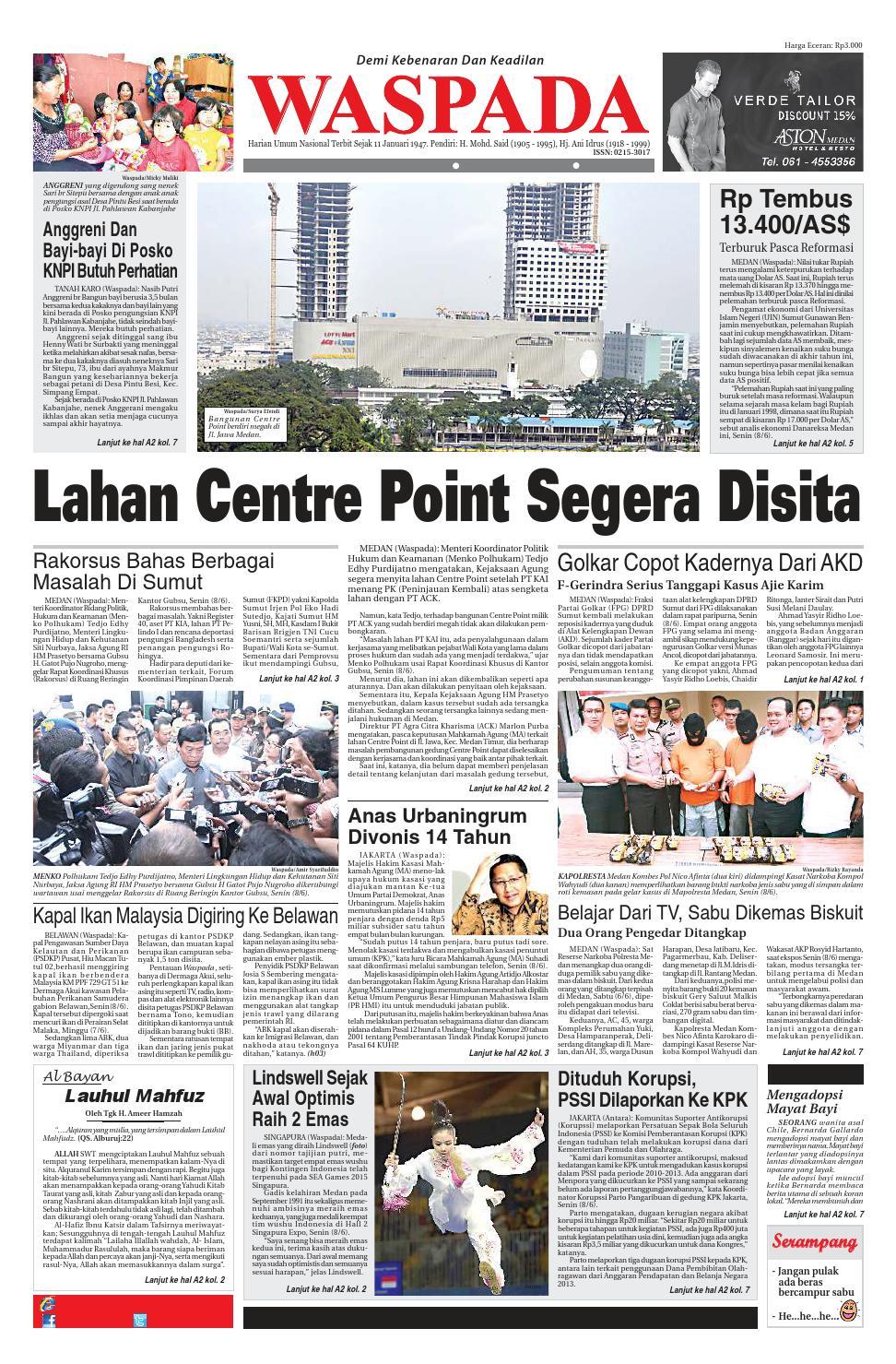 Waspada Selasa 9 Juni 2015 By Harian Issuu Produk Ukm Bumn Tas Ransel Threepoint