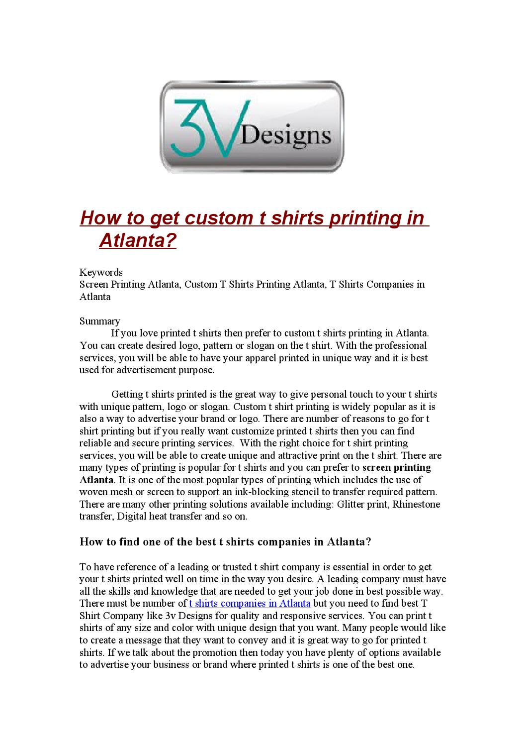 How To Get Custom T Shirts Printing In Atlanta By Same Day T Shirt