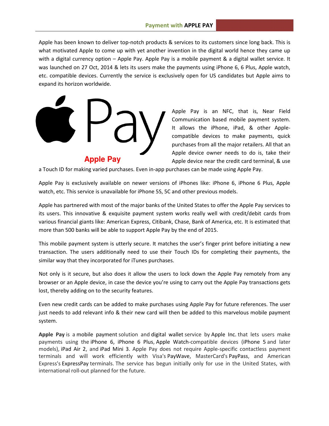 Apple pay by Cart Pay Solutions - issuu