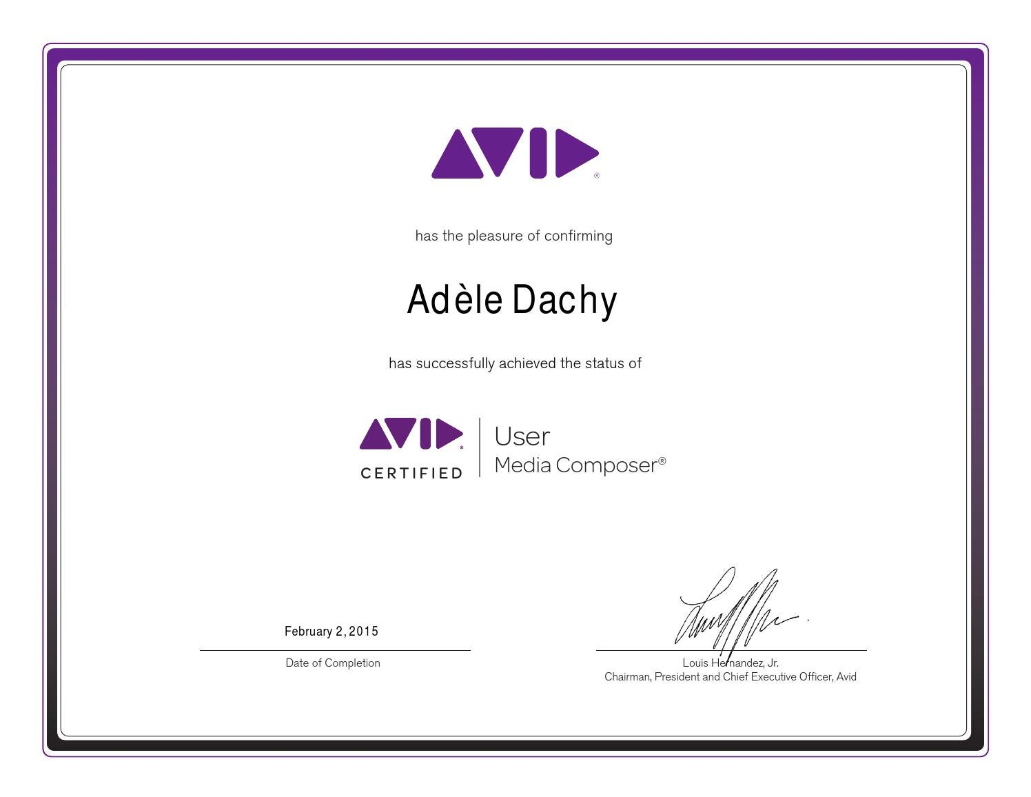 Avid Media Composer Certificate Ad By Adle Dachy Issuu
