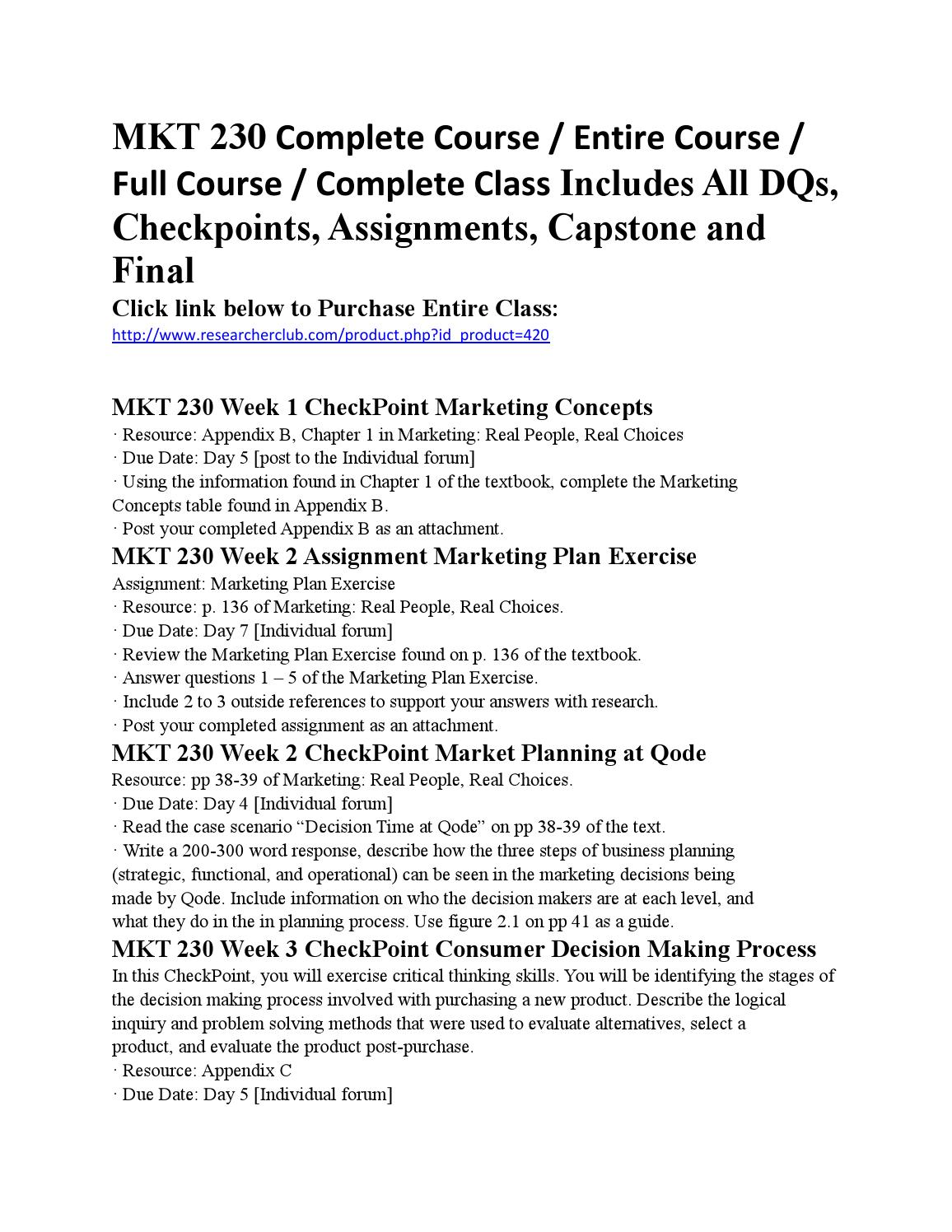 marketing research mkt 230 assignment University find mkt 236 study guides, notes, and practice tests from   module 4 assignment microsoft ethics illinois state university ethics mkt 236 -  summer 2016 register now  mkt 230 - introduction to marketing (160  documents.