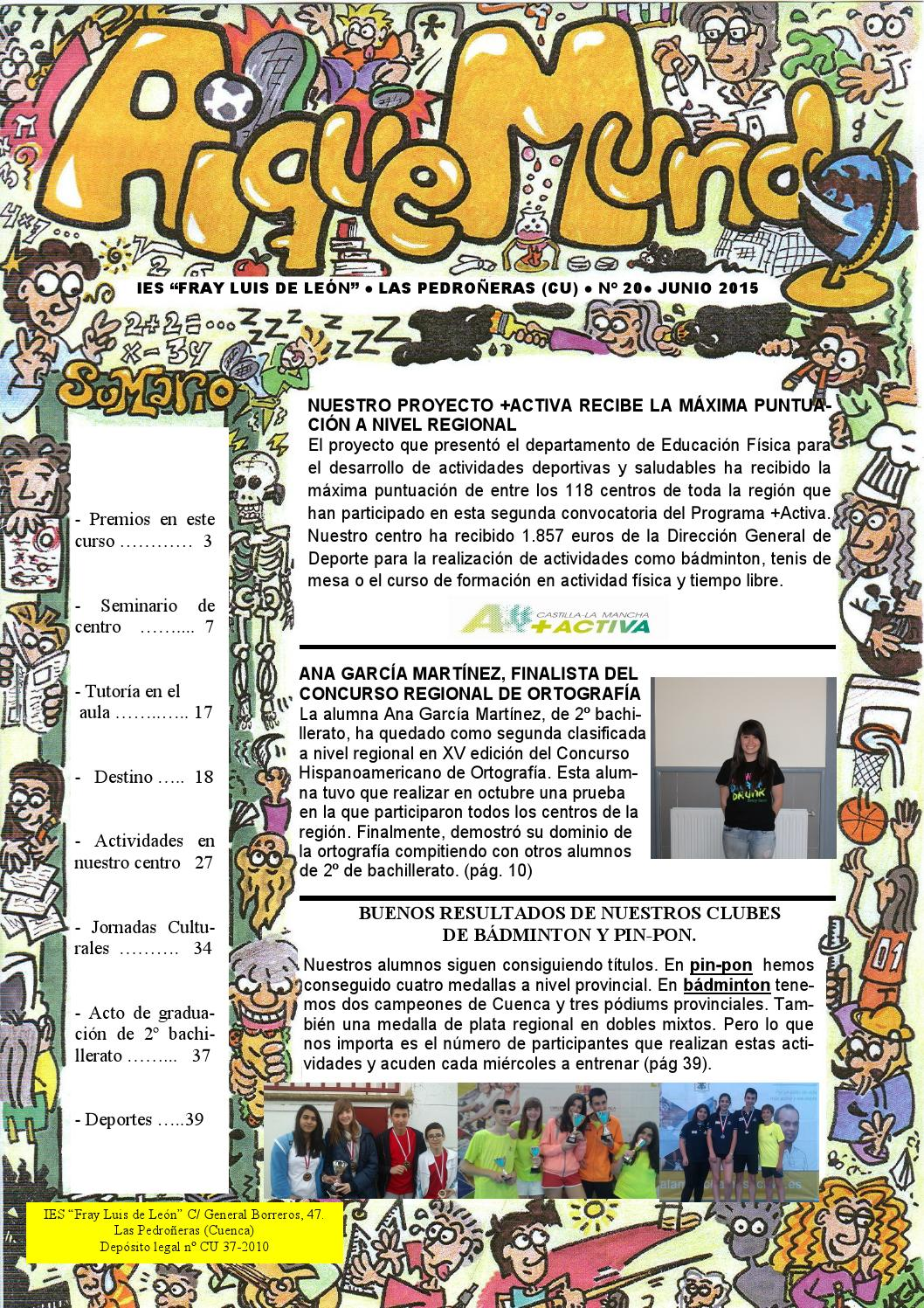 Aique nº 20 junio 2015 by IES Fray Luis de León - issuu