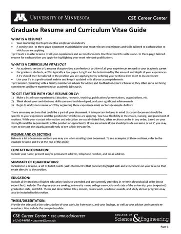 Graduate Resume And Curriculum Vitae Guide By Armenatzoglou Maria