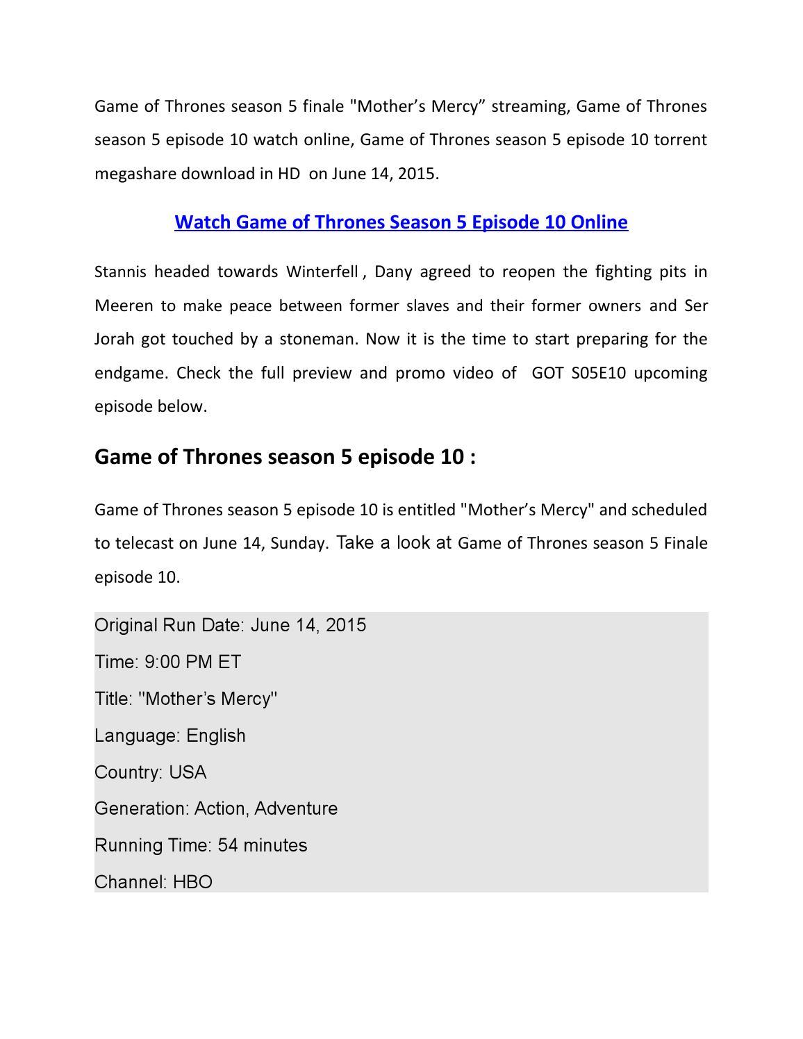Finale']Watch Game of Thrones Season 5 Finale Episode 10 Online by