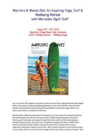 Warriors Waves Yoga And Surf Retreat Bali August 2015 By Yoga Issuu