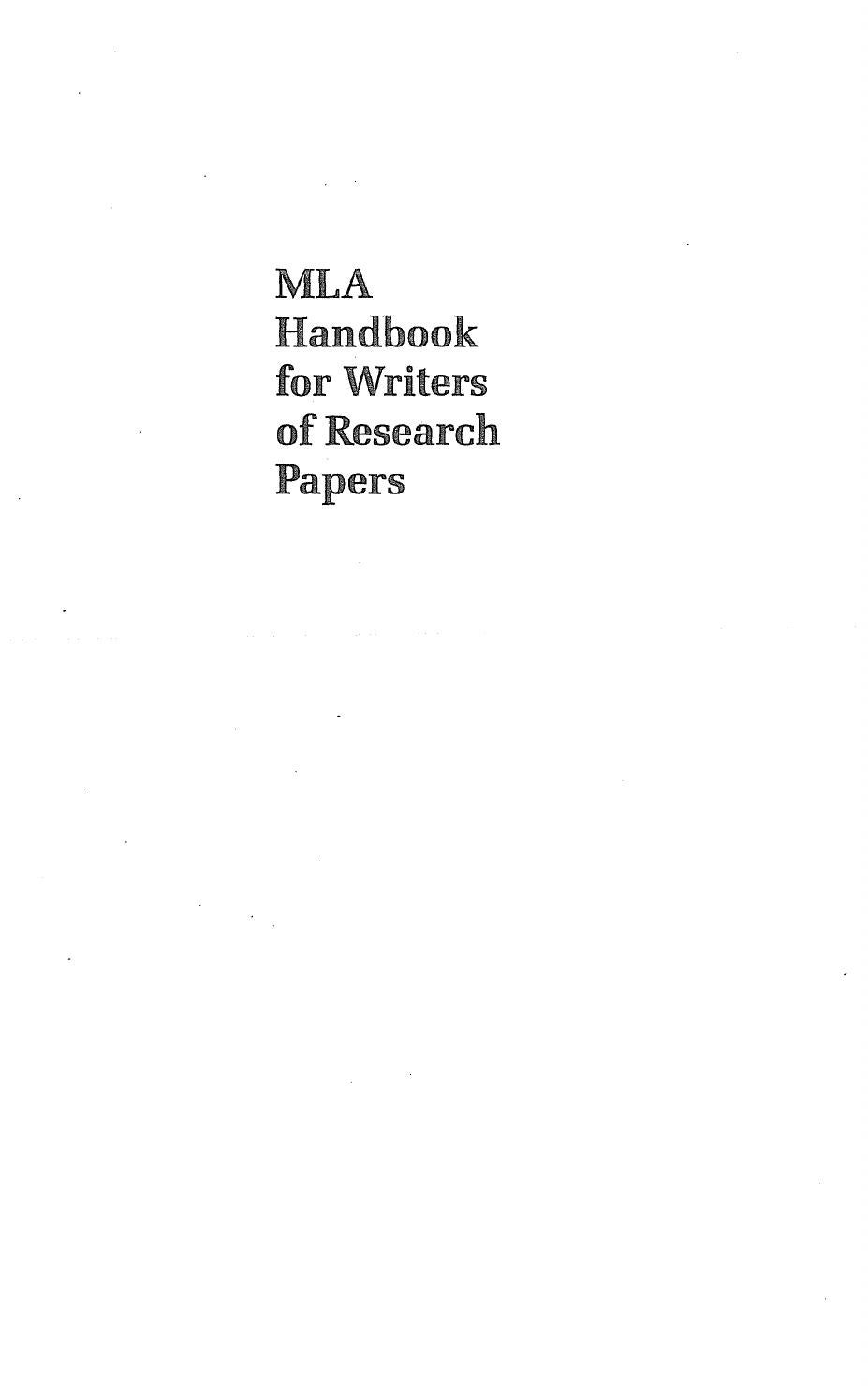 mla 7th edition research paper format Mla handbook for writers of research papers mla handbook, 7th edition mla – sample works cited 5.