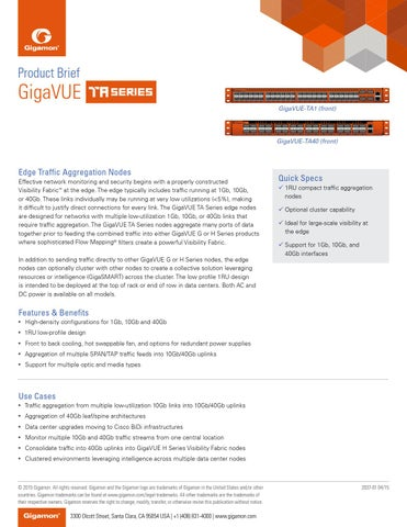 Edge Traffic Aggregation Node - GigaVUE TA Series Product