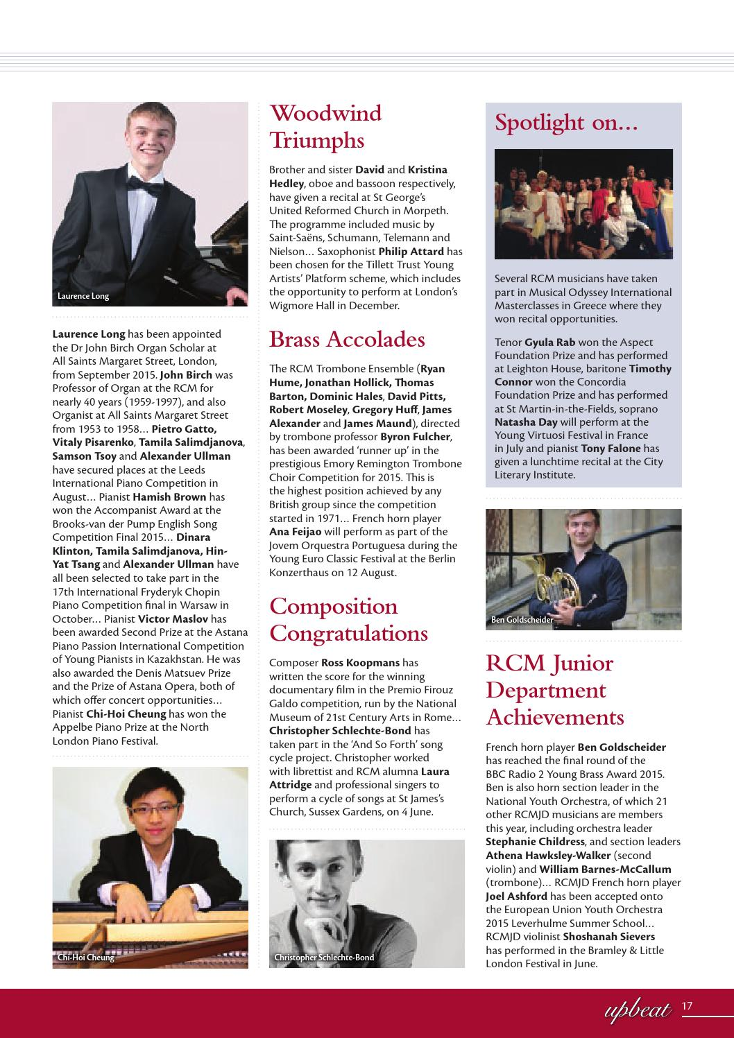 RCM Upbeat Summer 2015 by Royal College of Music - issuu