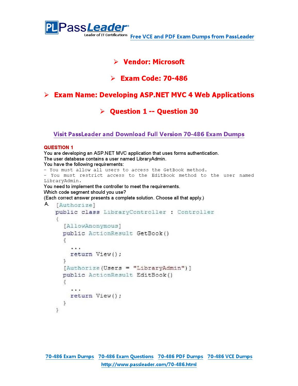 70 486 exam dumps with pdf and vce download 1 30 by passleader 70 486 exam dumps with pdf and vce download 1 30 by passleader issuu xflitez Image collections