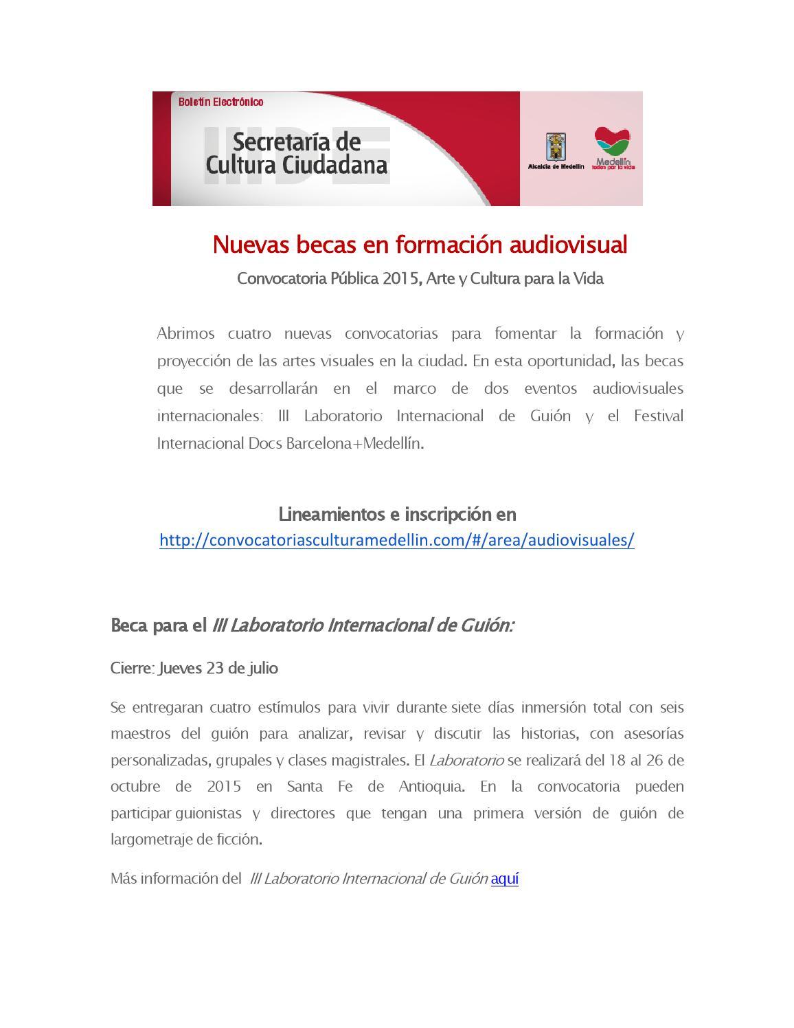 Convocatorias audiovisuales by culturamde issuu for Convocatoria de maestros