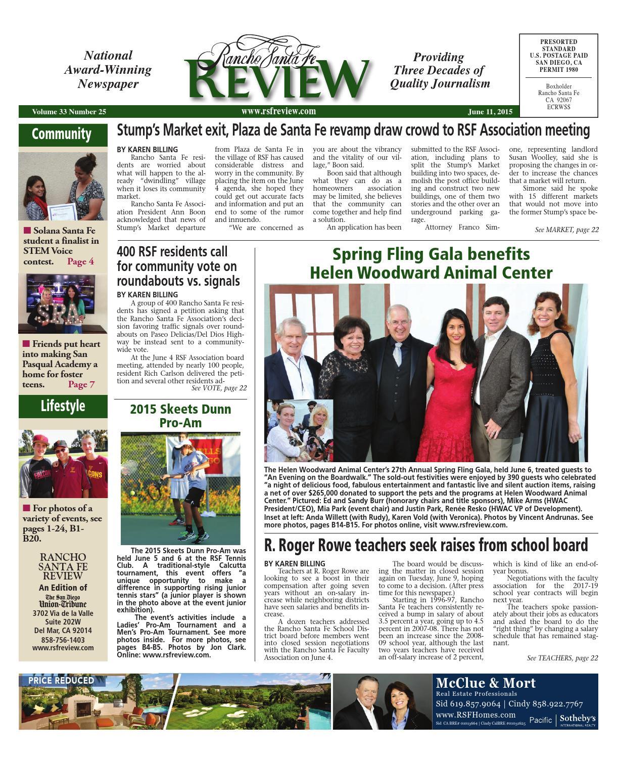 Rancho santa fe review 6 11 15 by MainStreet Media - issuu