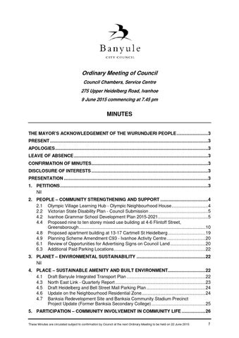 Banyule City Council 9 June 2015 Ordinary Meeting Minutes by Banyule ...