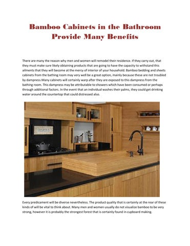 Bamboo cabinets in the bathroom provide many benefits by domain cabinetsdirect issuu - Advantages bamboo cabinetry ...