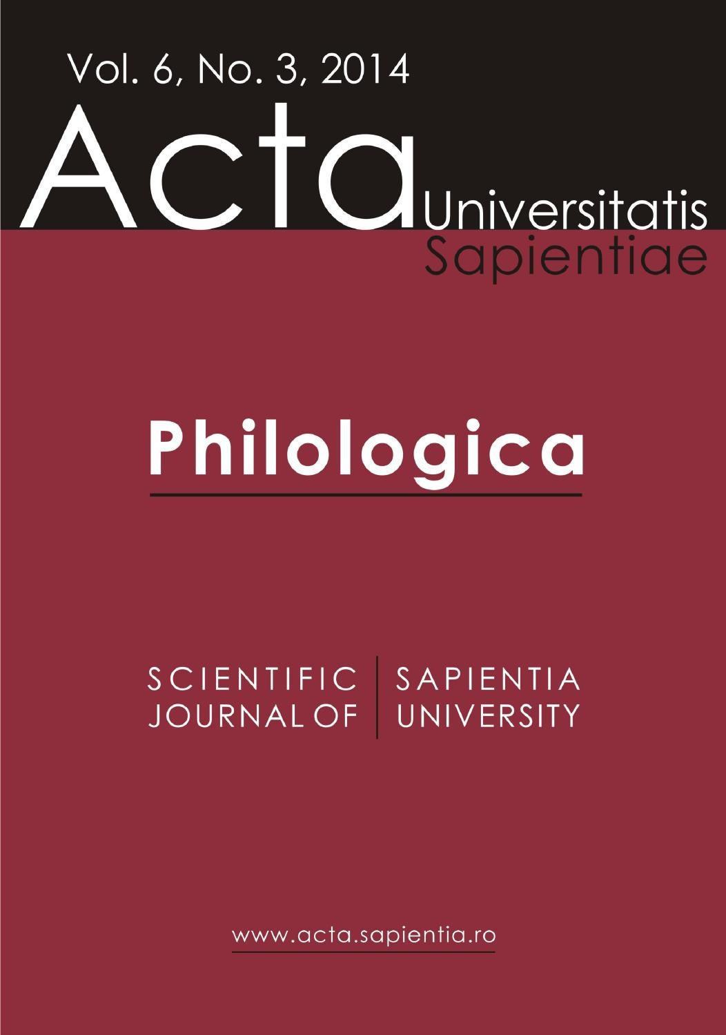 Philologica Vol. 6, No. 3, 2014 by Acta Universitatis Sapientiae ...