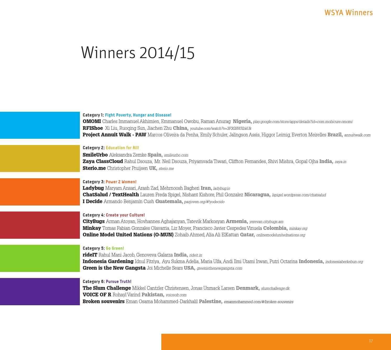 Wsya Catalogue 2015 By Worldsummitawards Issuu