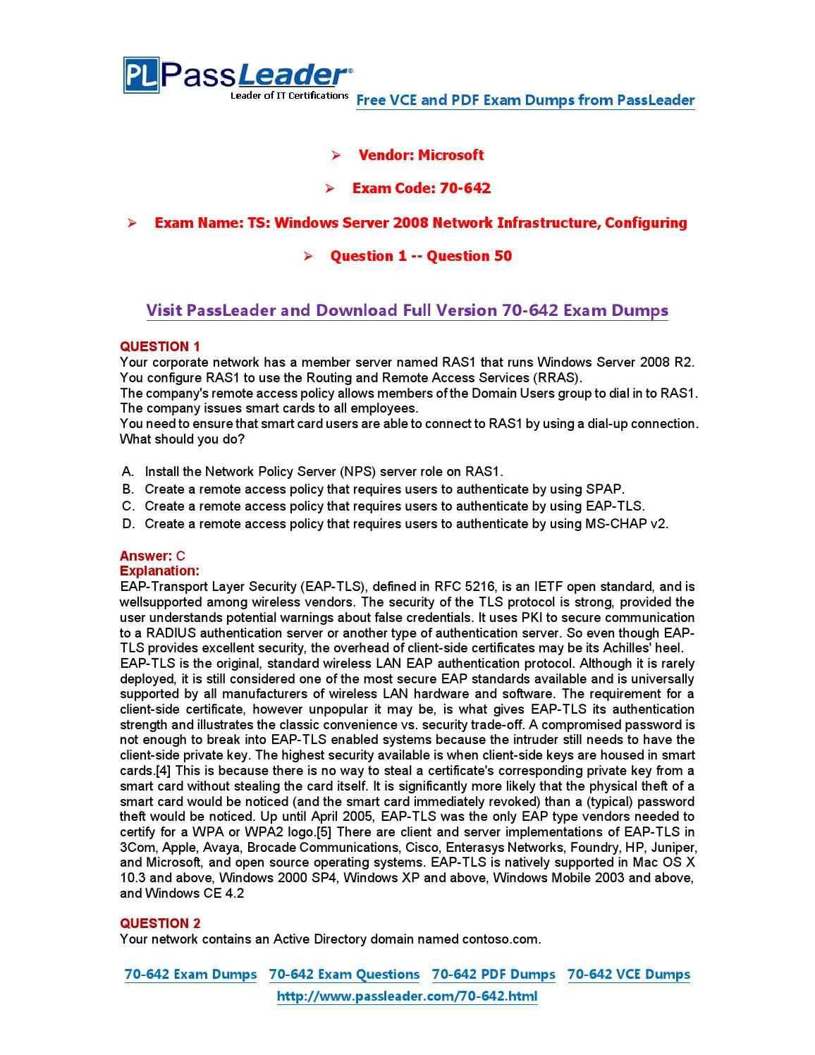 70-642 Exam Dumps with PDF and VCE Download (1-50) by PassLeader - issuu