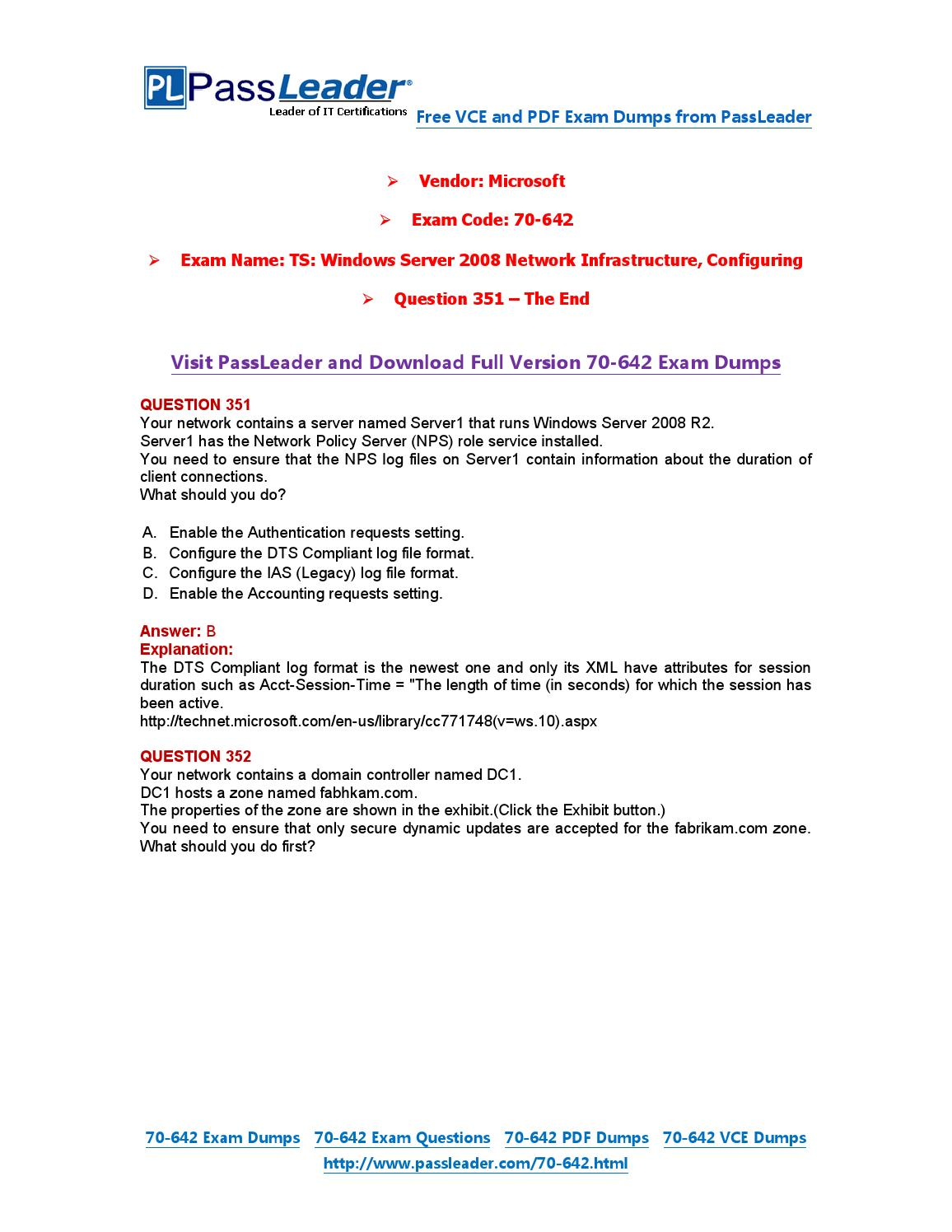 TS Windows Server 2008 Network Infrastructure (Real Exam Questions)