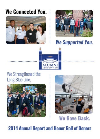 2014 Annual Report And Honor Roll Of Donors By Uscga Alumni