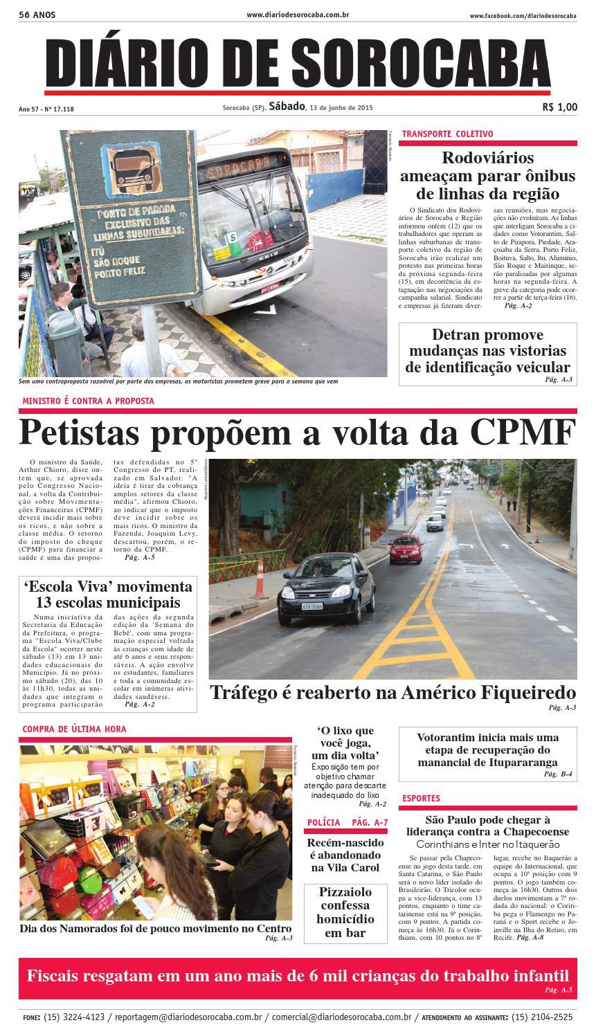 Edição de 13 de junho de 2015 by DIÁRIO DE SOROCABA - issuu b56ffa62ab