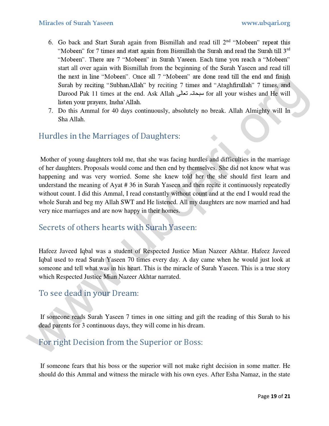 Miracles of Surah Yaseen by Ubqari - issuu