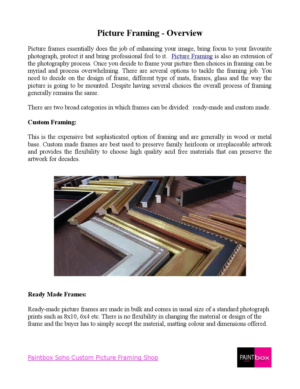Basic Information For Picture Frames By Paintbox Soho Issuu