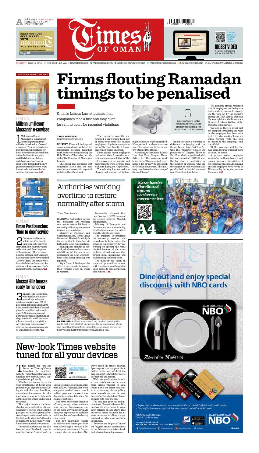 Times of Oman - June 15, 2015 by Muscat Media Group - issuu