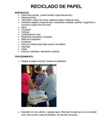 Reciclado de papel by JN María Dolores Flores Morales - issuu