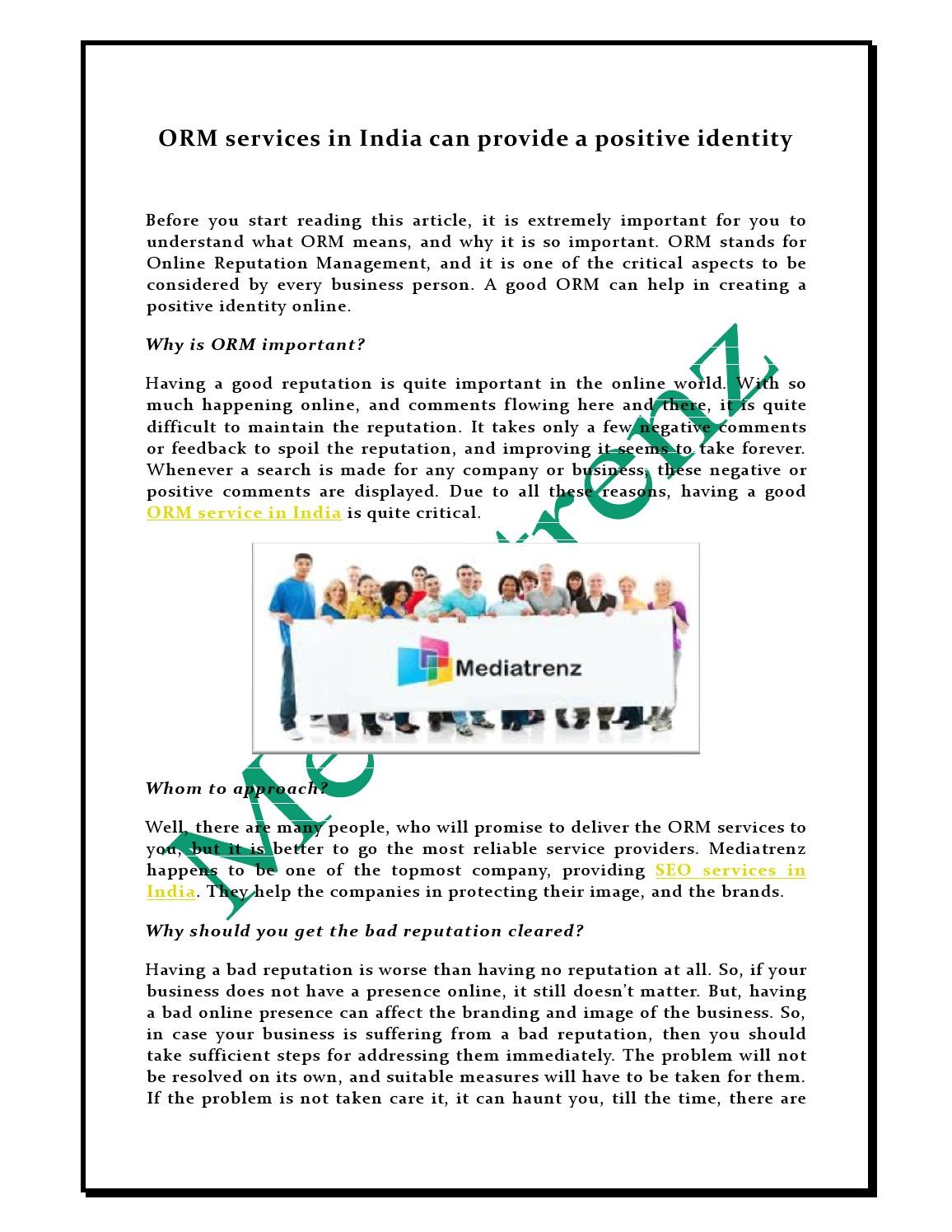 Orm services in india can provide a positive identity by MediaTrenz - issuu