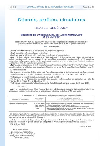 Decret N 2015 636 Du 5 Juin 2015 Tableaux Des Mp Agriculture Jo 09 06 2015 By Addora Issuu