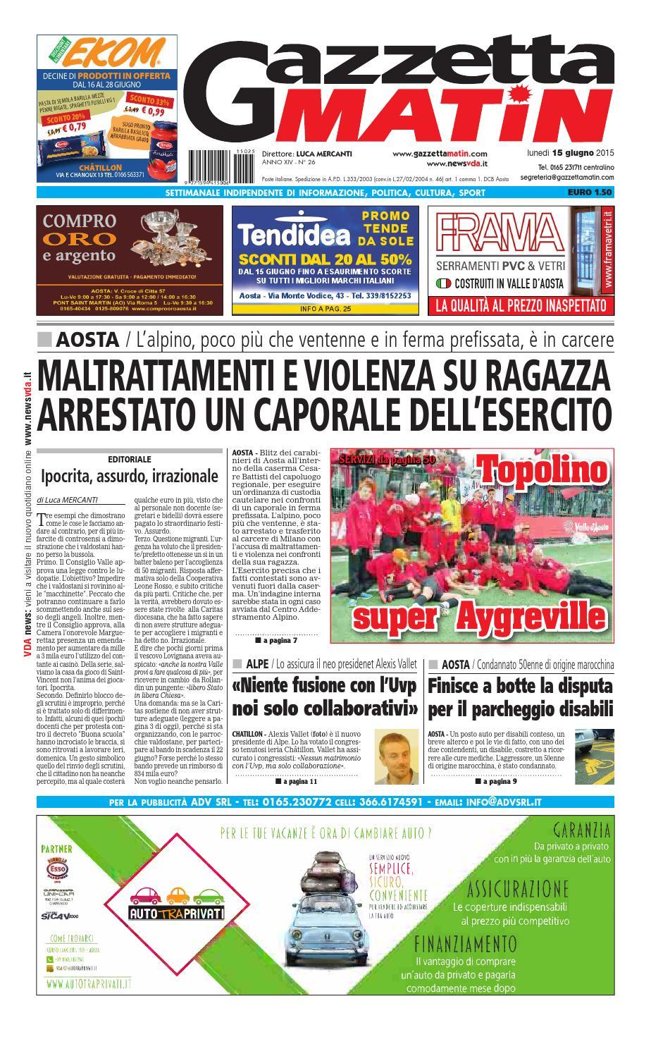 Gazzetta Matin del 15 giugno 2015 by NewsVDA - issuu f2e7920b2b0