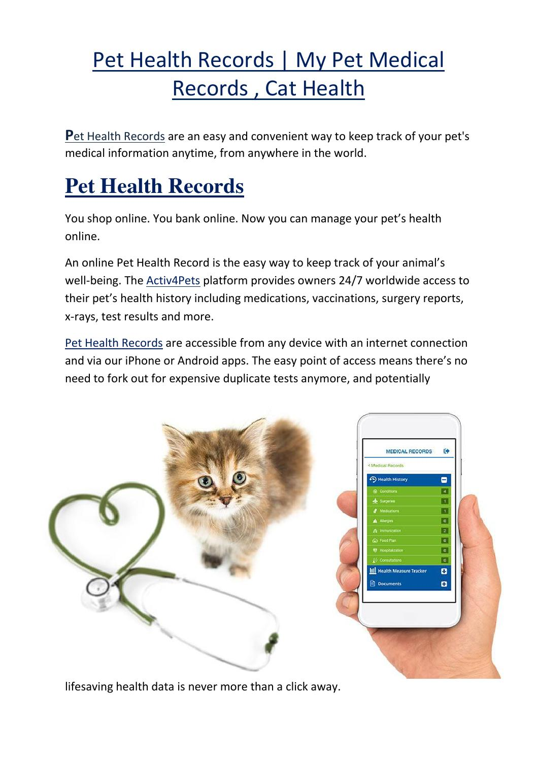 pet health records my pet medical records cat health by activ4pets