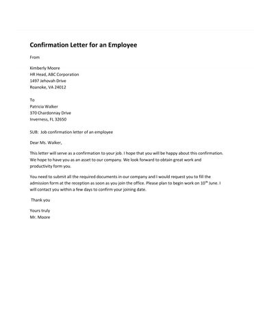 Employee Confirmation Letter Sample by Sample Letters issuu