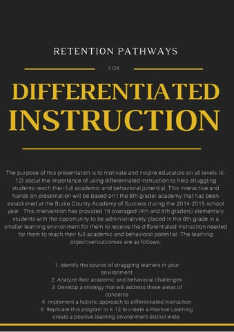 Retention Pathways For Differentiated Instruction By Burke County