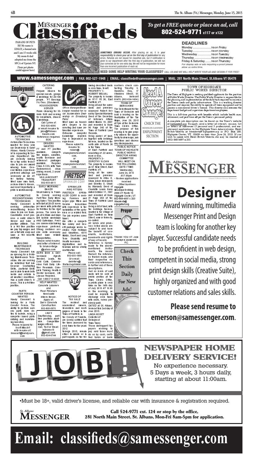 06 15 2015 Classifieds By St Albans Messenger Issuu
