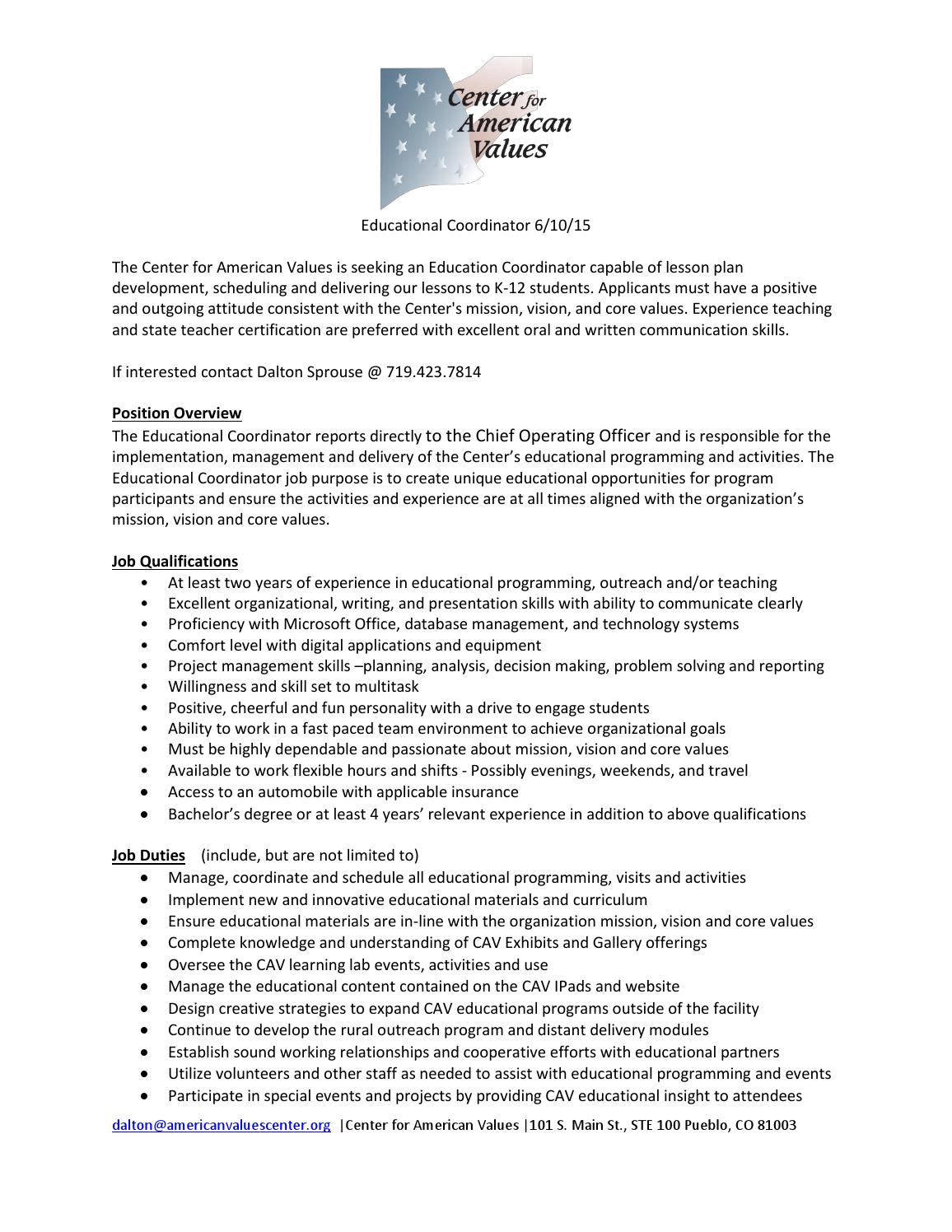 cav educational coordinator position june 2015 by bill mead issuu