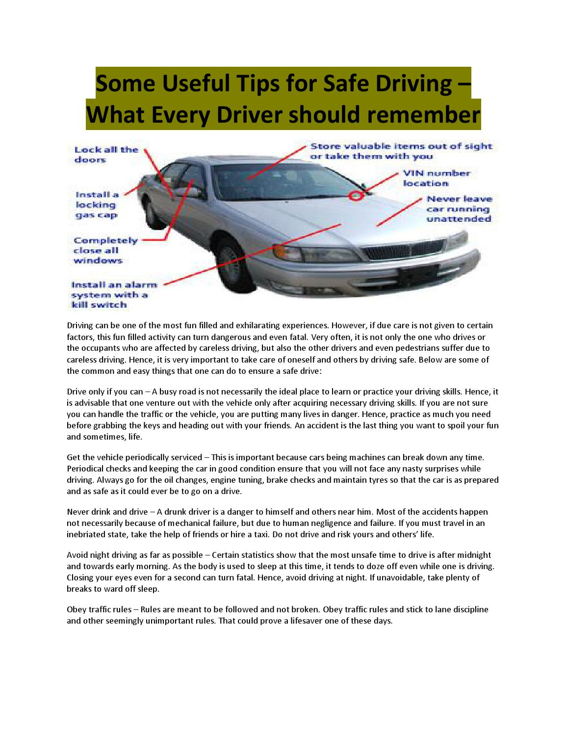 Some Useful Tips For Safe Driving What Every Driver Should Instead Of Using A Switch To The Parking Lamps Or Others As Shown Remember By Tommaxi Issuu
