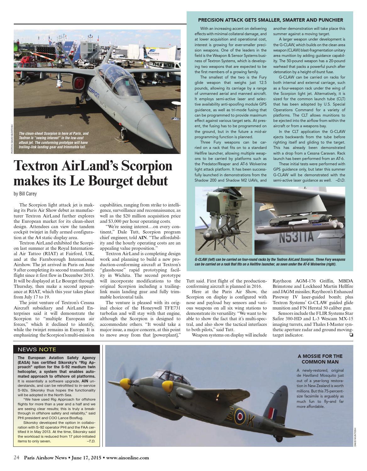 Textron Scorpion Jet News: Paris Airshow News 06-17-15 By Aviation International News