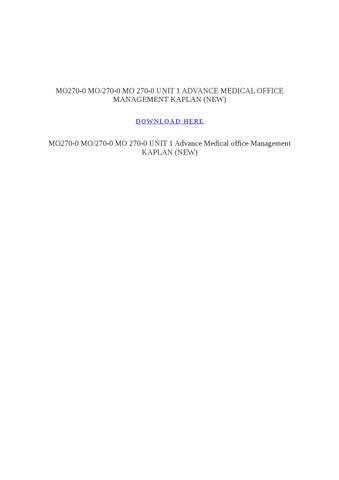 medical office management final project kaplan Balanced scorecards for small rural hospitals: concept overview & implementation guidance balanced scorecards for small rural hospitals: when robert kaplan.