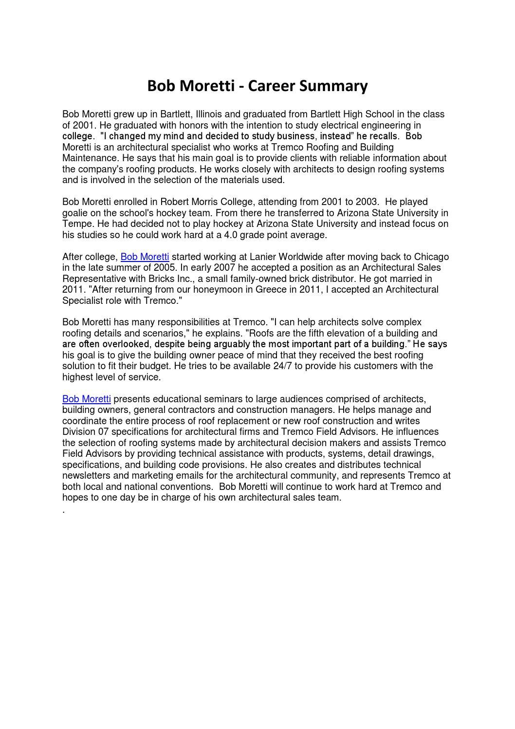 Bob Moretti - Career Summary by pzmediainc - issuu