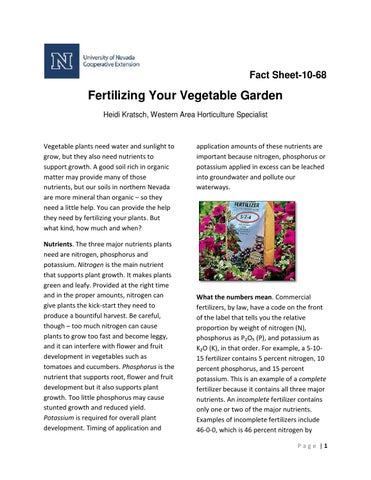 Fs1068 Fertilizing Your Vegetable Garden