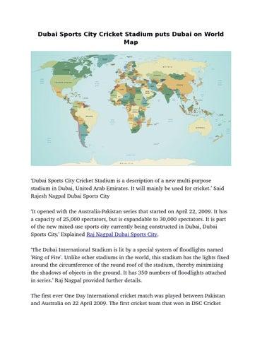 Dubai sports city cricket stadium puts dubai on world map by