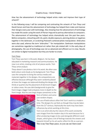 graphics essay by danielshippey issuu graphics essay daniel shippey how has the advancement of technology helped artists make and improve their type of artwork in the following essay i will