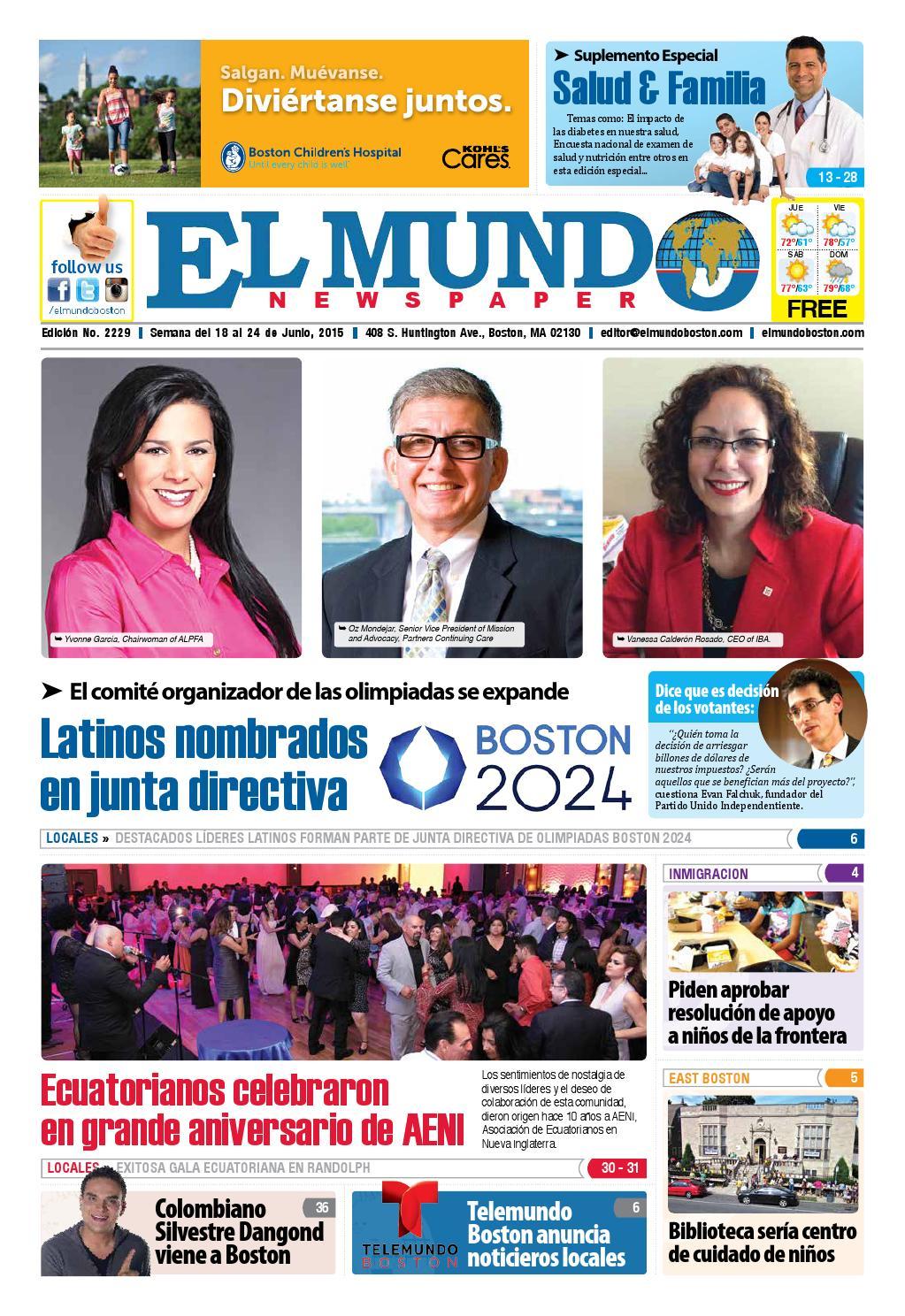El Mundo Newspaper No 2229 06 18 15 By El Mundo Boston  # Muebles Dangond