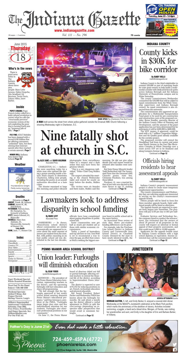 The Indiana Gazette, Thursday, June 18, 2015 by Indiana Printing &  Publishing - issuu