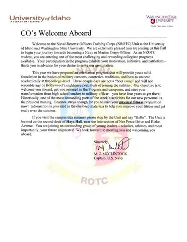 2015 Navy Rotc Welcome Aboard Letter By The University Of Idaho Issuu