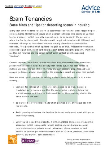 Scam Tenancy Agreements By Reading University Students Union Issuu