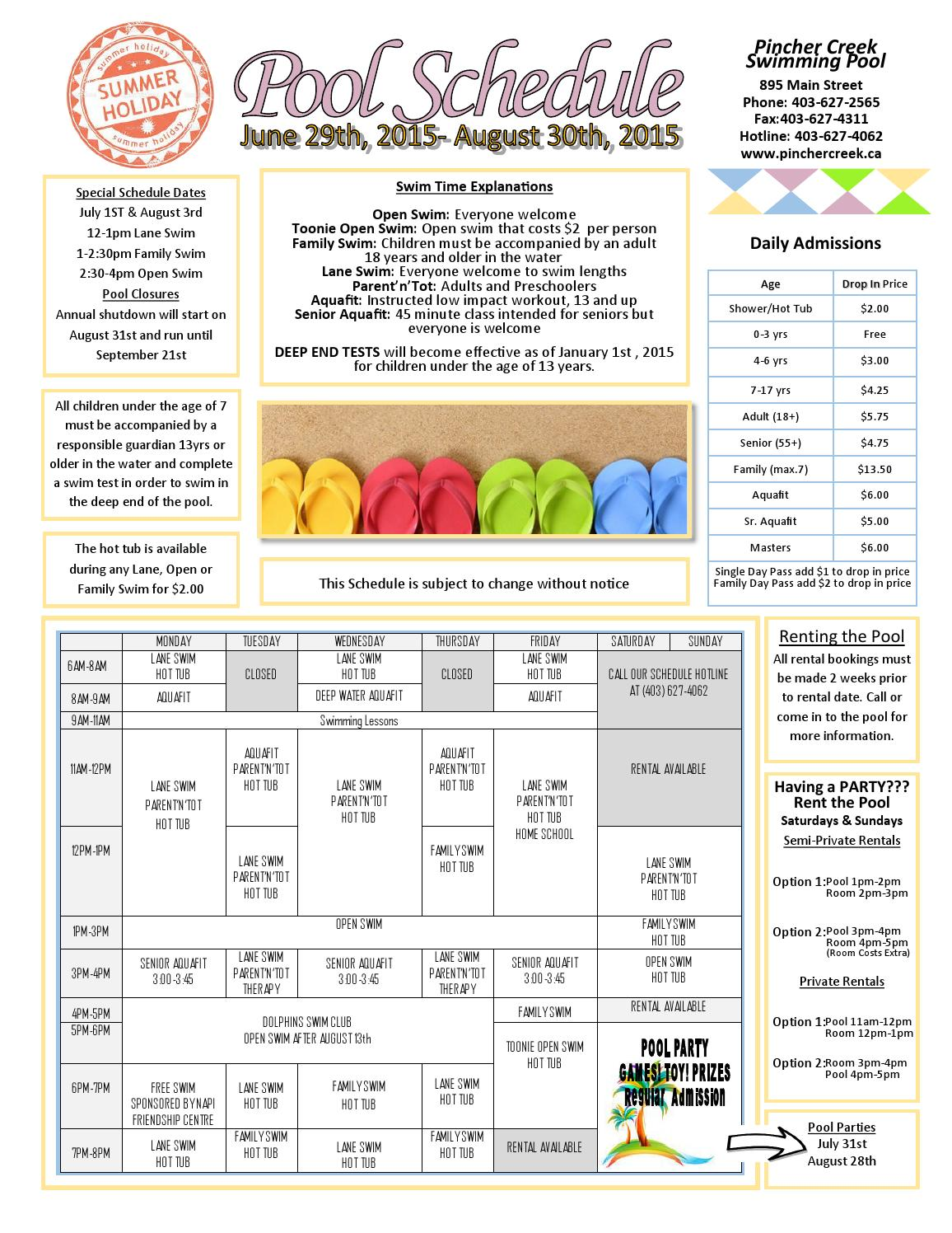 Summer Swimming Schedule By Town Of Pincher Creek Issuu