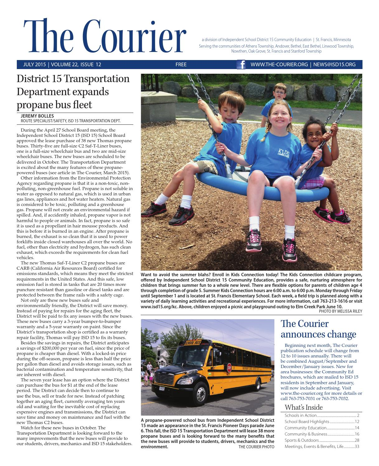 The Courier - July 2015 by St  Francis Area Schools - issuu