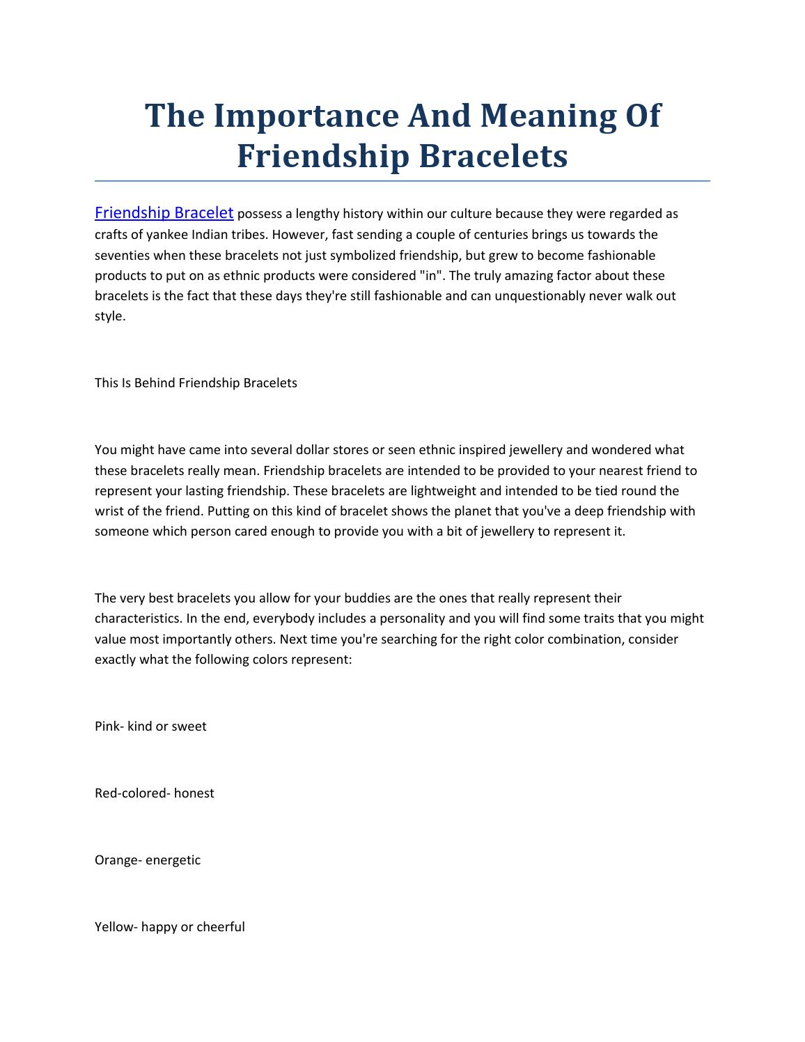 The Importance And Meaning Of Friendship Bracelet By Frank Lan Issuu
